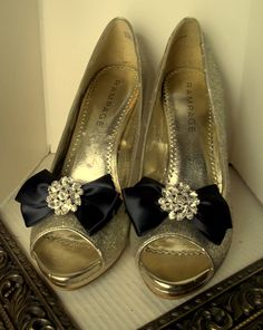 Wedding Shoe Clips   Satin Bows  MANY COLORS by ShoeClipsOnly