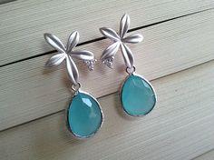 Iris with Ocean Blue Silver Earrings - Cubic Zirconia Earrings,Drop, Dangle, Glass Earrings, bridesmaid gifts,Wedding jewelry