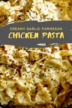 Best & healthy recipes of Instant Pot Creamy Garlic Parmesan Chicken Pasta Easy Healthy Pasta Recipes, Creamy Pasta Recipes, Healthy Chicken Pasta, Vegetarian Pasta Recipes, Baked Pasta Recipes, Pasta Dinner Recipes, Chicken Zucchini, Zucchini Pasta, Spinach Pasta