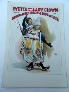 Evetta Lady Circus Clown Poster the Only Lady by BellaMercato