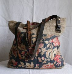 Rosehip Bag handmade with french oatmeal fabric, blue floral linen & red ticking