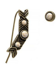 Arrow chevron marble ear crawler stud set