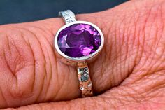 AAA Grade Oval Amethyst Handmade February Birthstone Ring by janeysjewels on Etsy
