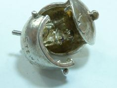 Rare Vintage Sterling Silver Pendant CHARM MAN IN STEW POT OPENS - 50 gbp