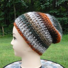 crochet slouchy hat, Unisex men or women, fall accessory for wardrobe with…
