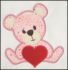 Valentine Teddy Bear Applique designs