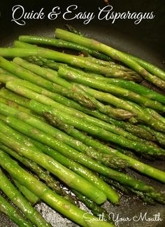 A simple recipe for perfect sauteed asparagus with garlic and olive oil that's ready in minutes. recipes sauteed olive oils Quick and Easy Asparagus Sauteed Asparagus Recipe, Grilled Asparagus Recipes, Baked Asparagus, How To Cook Asparagus, Roast Asparagus, Easy Healthy Recipes, Vegetable Recipes, Easy Meals, Veggie Food
