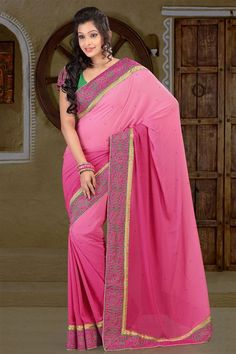 Weightless Pink party wear saree