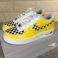 HEY TAXI HEY TAXI Yellow checkerboard Custom painted nike air force one s dont by customsb Dr Shoes, Nike Air Shoes, Hype Shoes, Sneakers Nike, Shoes Men, High Top Sneakers, Air Force One Shoes, Nike Air Force Ones, Custom Painted Shoes