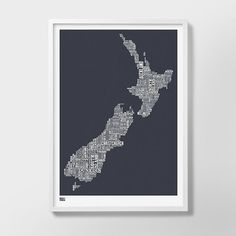 New Zealand Type Map Screen Print, New Zealand Word Map, New Zealand Artwork, New Zealand Wall Poste Map Wall Art, Poster Wall, Pink Tea Towels, Map Of Great Britain, Word Map, Long White Cloud, Type Posters, Affordable Wall Art, Free Gift Cards