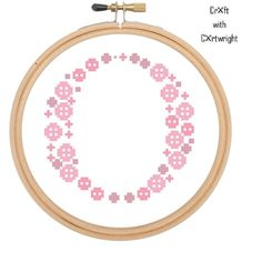 Pink Button Art 'O' Monogram cross stitch pattern | Craftsy £2.42