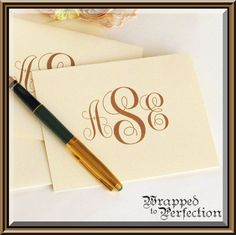 Monogram Note Cards / Monogram Stationery / Ivory & Cocoa Brown / 10 Cards / MADE TO ORDER / Traditional on Etsy, $13.00
