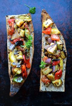 Grilled Ratatouille Tartine by Taste Love Nourish- this just looks so yummy and so cool Vegetable Recipes, Vegetarian Recipes, Cooking Recipes, Healthy Recipes, I Love Food, Good Food, Yummy Food, Great Recipes, Favorite Recipes