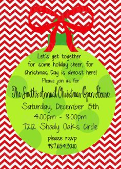 CHRISTMAS OPEN HOUSE Invitation - Holiday Party Invitation - Chevron & Polka Dots Ornament  Card - Christmas Party Invite for Home or Office