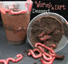 Worms & Dirt Dessert....  this is grossly delicious!