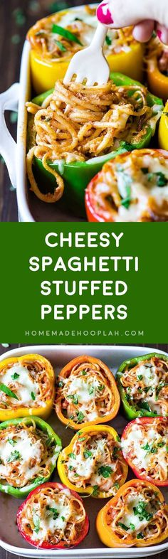 Cheesy Spaghetti Stuffed Peppers! Tender Italian stuffed peppers filled with spaghetti, ricotta, parmesan, and Ragu Homestyle Thick and Hearty Four Cheese Sauce. | http://HomemadeHooplah.com #AD #SimmeredinTradition