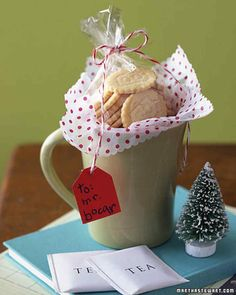 Pack a pretty mug with tea bags and homemade sweets. To make simple sugar cookies special, imprint an initial on each one with an alphabet cutter before baking. Show them off in cellophane tied with baker's twine and nestled in matching tissue.