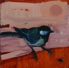 Eva de Visser – Title: Great tit (Koolmees). Oil on wood, gold. W: 29 cm x H: 40 cm. 2011