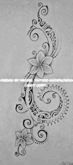 ♥ ♫ ♥ Polynesian Tattoo for Woman featuring Tipanier Flowers and a Hook of Maori Symbols ♥ ♫ ♥