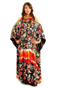 Black silk dress with flower print by Zafirah Fashion http://zafirahfashion.com/shop/4584099183/night-garden-orange-bell/8033183 #dress #fashion #Dubai #zafirahfashion