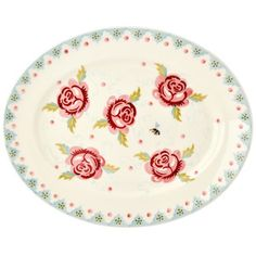 Rose & Bee Small Oval Platter