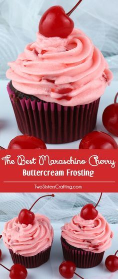 The Best Maraschino Cherry Buttercream Frosting - our delicious buttercream frosting flavored with yummy Maraschino Cherries. It is very delicious and is so easy to make If you love Maraschino Cherries you want to put this yummy frosting on every cake and Brownie Desserts, Just Desserts, Delicious Desserts, Dessert Recipes, Coconut Dessert, Bon Dessert, Cherry Frosting, Easy Buttercream Frosting, Cherry Cupcakes