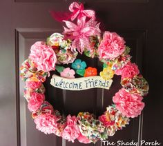 Spring Wreath of Paper Napkin Flowers by The Shady Porch