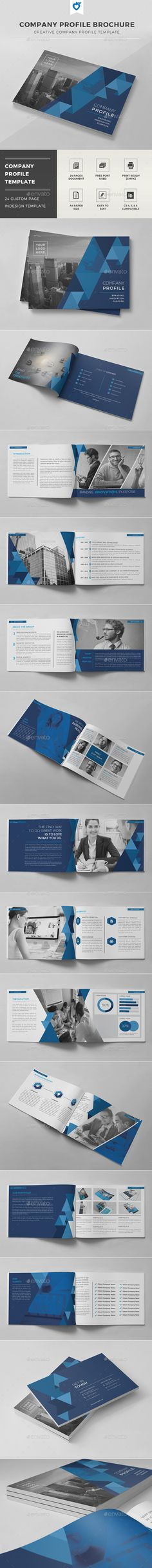A4 Horizontal Business Profile Design firms and Brochures - it company profile template