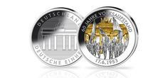 Struck in proof silver with selective gold plating this commemorative medallion is for the anniversary of the 1953 peoples uprising in East German. 60 Anniversary, German Coins, Military Intervention, Gold Medallion, East Germany, Gold Coins, Plating, Mint, Silver