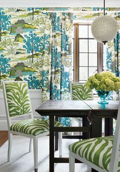 Lauderdale Chair from Thibaut Fine Furniture in Serengeti printed fabric in Green from Greenwood.