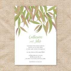 gum leaf printable wedding invitation. $32.00, via Etsy.