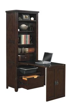 This murphy desk has a center door on the cabinet that pulls down to create a desk surface and reveals three hidden shelves. Furniture manufacturers are increasingly creating dual-purpose furniture Desk Storage, Built In Storage, Tall Cabinet Storage, Printer Storage, Hidden Desk, Hidden Shelf, Home Desk, Home Office Desks, Space Furniture