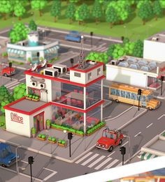 Low Poly City Pack Download 3D Model Formats: max, maya, c4d, blend, fbx, obj
