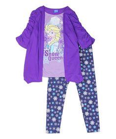 Look what I found on #zulily! Purple Frozen 'Snow Queen' Open Cardigan & Leggings Set - Girls #zulilyfinds