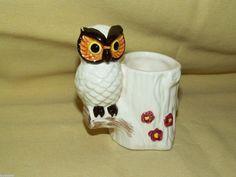 OWL TOOTHPICK HOLDER TREE STUMP LEGO VINTAGE CERAMIC WHITE BROWN PINK FLOWERS