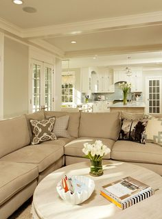 Popular color pallets change over time. For a quick update on your home pick something like Neutrals Benjamin Moore gray owl - Home decor and design Open Kitchen And Living Room, Home Living Room, Living Spaces, Room Colors, Paint Colors, My Dream Home, Great Rooms, Sweet Home, New Homes