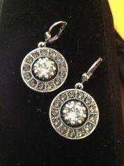 Earrings Disk with Rhinestone