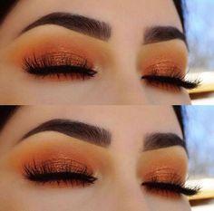 liebe diesen orange glam look. orange Lidschatten ist definitiv ein Trend in diesem Sommer love this orange glam look. orange eyeshadow is definitely a trend this summer – Das schönste Make-up Makeup Tips Smokey Eye, Orange Eye Makeup, Eye Makeup Steps, Orange Eyeshadow Looks, Yellow Makeup, Colorful Makeup, Skin Makeup, Eyeshadow Makeup, Eyeshadows