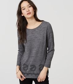 Image of Petite Paisley Embroidered Knit Top