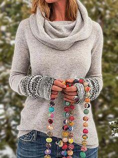 Women Tribal Vintage Cowl Neck Long Sleeve Plus Size Shirts, Light Gray / XL Tops Vintage, Vintage Sweaters, Vintage Cotton, Vintage Jumper, Vintage Shirts, Manga Tribal, Plus Size Shirts, Plus Size Tops, Retro Sweatshirts