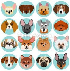 small dog faces set with circle.