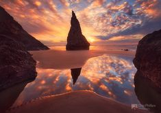 Wizards Hat, Bandon, Oregon Coast By: Chip Phillips / bandon beach coast ocean oregon pacific reflections sand sea stack sunset winter Equipment: Canon EOS Mark II Bandon Oregon, Oregon Coast, Oregon Usa, Gaia, Beautiful Sunset, Beautiful Places, Beautiful Scenery, Amazing Places, Bandon Beach
