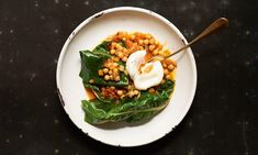 Florence Knight's chickpea, Swiss chard and soft-poached egg