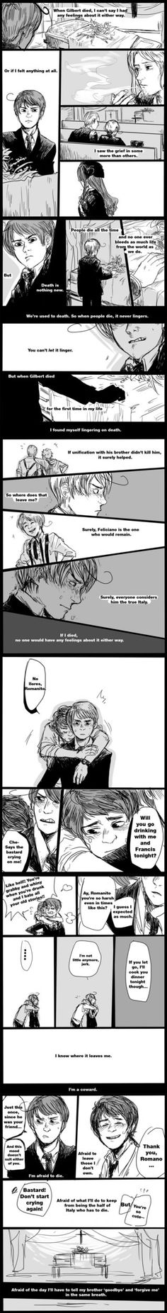 Fratricide pt.1 by ryounkura on deviantART *sniff* this made me cry, I'm not joking. Prussia dying and the thought of Romano leaving Veneziano in one strip.... excuse me while I go to my corner and cry every tear I have left in me....