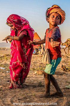 India dancing kids at Pushkar camel festival
