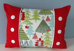 Christmas Pillow Cover Red and green pillow by sterlingstitchery