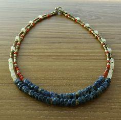 Short, multi-strand, multi-gemstone, boho-chic necklace / Made with iolite, carnelian, aventurine, brass and seed beads / By Artigiana Designs, - my original design. #jewelry #necklace #handmade #boho #bohochic #multistrand #multigemstone #artigianadesigns