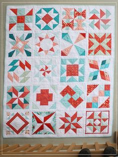 summer sampler with some coole xtra blocks. I like the pinwheel inside the star