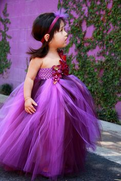 DIY Flower Girl Dresses | ... Eggplant and Purple TuTu Dress. Wedding.Birthday.Flower Girl Dress I love this one....it similar to what I was planning to make