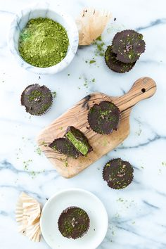 Chocolate Matcha Butter Cups - Okay, so these aren't exactly kale, but it is better to nosh on these chocolate treats than, say, actual peanut butter cups. Ingredients include matcha powder, dark chocolate, coconut butter, coconut oil, sea salt, cacao nibs and almond powder.Recipe Author: Keepin It Kind